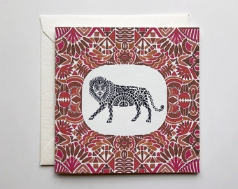 Lion with Red Geometric Mini Card