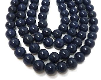 Dark Blue Mountain Jade 10mm Round Bead - Whole Strand - 40 beads - blueberry lapis navy blue - shiny marble - Mashan