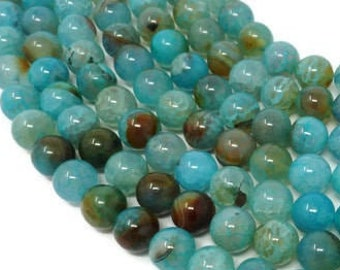 10mm blue crab fire agate round beads 14.5 strand 34822