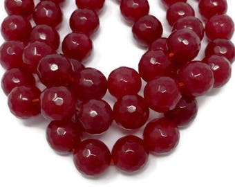 Ruby Red Jade - 13mm Faceted Round Bead - Full Strand - 28 beads - Scarlet Crimson Cherry translucent stone