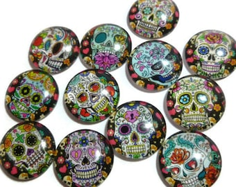 Sugar Skull - Glass Cabochon Set - Mixed Pattern - 16mm x 5mm - 12 Design Set - Dia de los Muertos - 12 Piece Sets - for jewelry or magnets