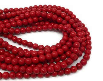 Cherry Red Howlite - 8mm Round Bead - Full Strand - 51 beads - scarlet crimson - synthetic turquoise - candy apple red