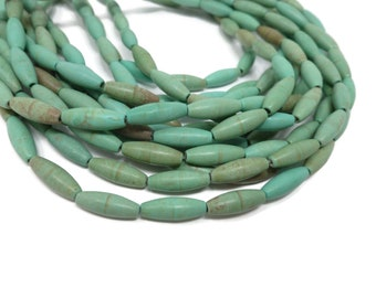 30X15mm 3 strands of Howlite Turquoise long Oval beads-