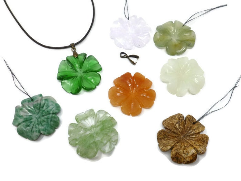 Top Drilled Picture Jasper Tree Agate Green Glass Aventurine Stone 38mm x 6mm Geranium Pendant About 1.5 Large Carved Flower