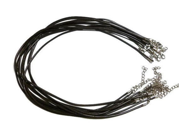"""Bluk PU Leather 2mm Cord Lobster Clasp Black Choker Necklace Chains 16.5/"""""""