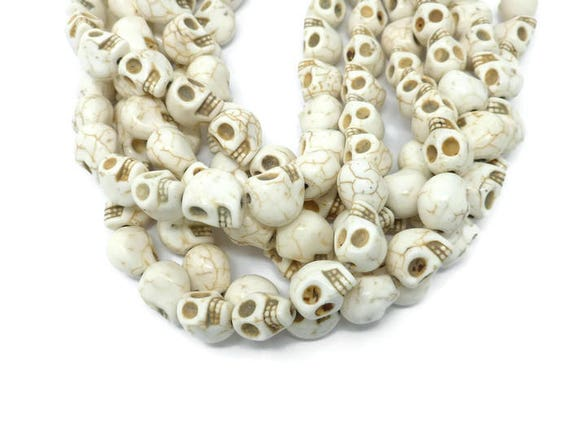 Skull Synthetic Turquoise Ivory Beads 13mm x 40 Pieces Halloween Creamy White