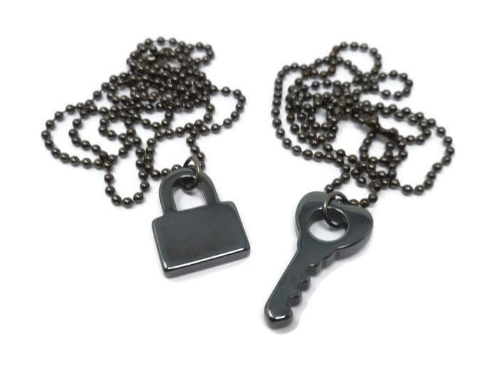 9c4dc0bce3 Black Hematite Padlock Key Necklace ~ Set or Single ~ Best Friends Couples  Necklaces ~ Leather or Ball Chain ~ Custom Length ~ Gunmetal Lock. gallery  photo ...