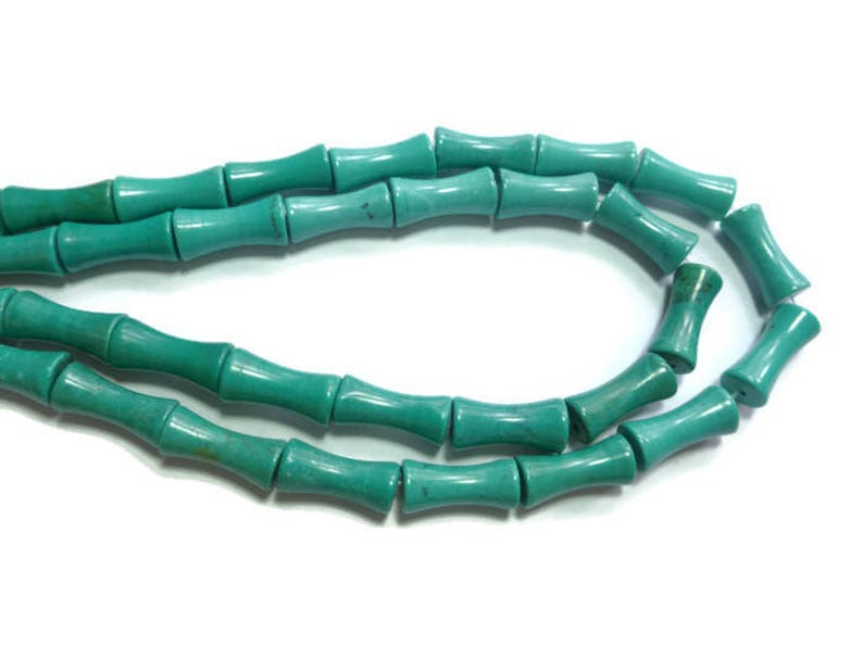 hourglass 27 beads 15mm x 7mm Full Strand tube dog bone teal Turquoise Magnesite Bamboo Bead blue