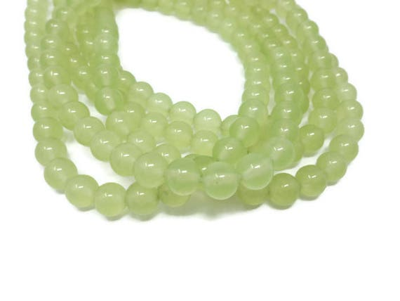 100 x 8mm Green Opaque Acrylic Round Beads Pea Green