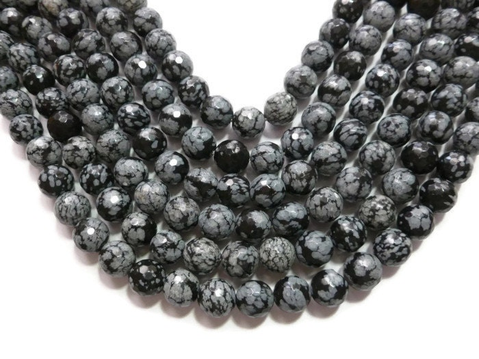 """10mm Snowflake Obsidian Gems Round beads Necklace 18/"""""""