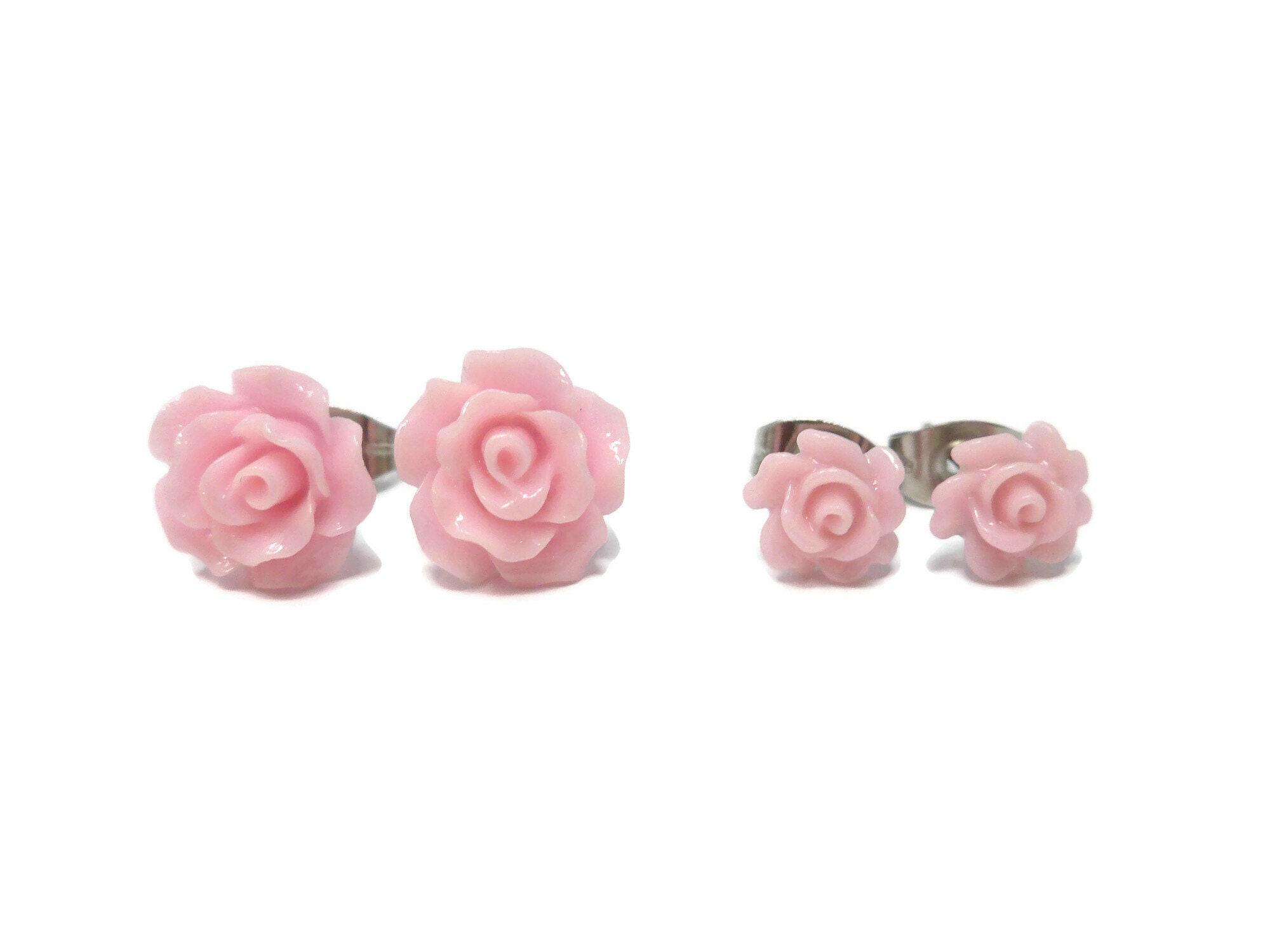 Studs pink flowers 10 mm