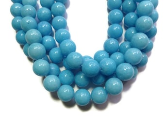 Blue Mountain Jade - 10mm Round Bead - Full Strand - 41 beads - Light Blue - Sky Blue - Mashan jade - blue opaque stone