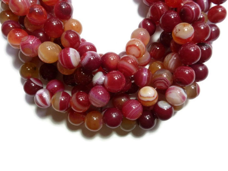 Full Strand Colorful Striped Red White Orange and Pink Stone Multicolor Red Banded Agate 10mm Round Bead 37 beads
