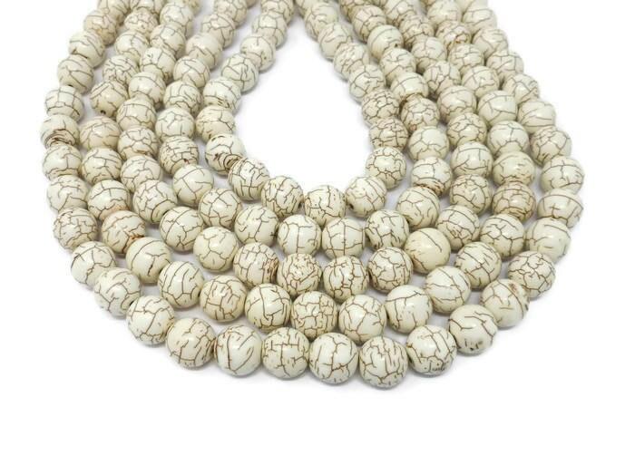 Bone White Howlite 14mm Round Bead - Whole Strand - 32 beads