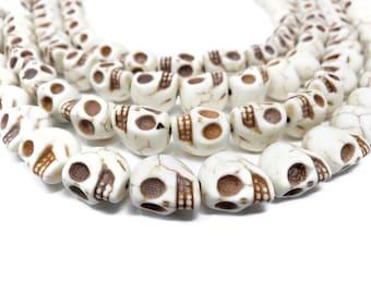 Bone White Howlite Large Skull Bead - 15mm x 14mm x 12mm - 24 beads - Whole Strand - White Turquoise - Skulls - Ivory Cream