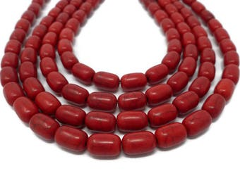 Cherry Red Howlite - Barrel Bead - 12mm x 8mm - Whole Strand - 34 beads - Scarlet Crimson - Synthetic Turquoise - oval