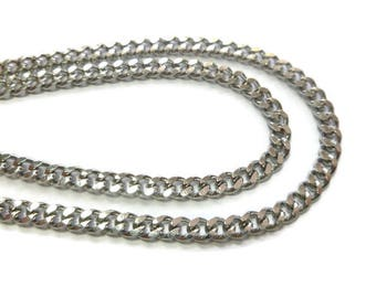 Hammered Curb Chain - Stainless Steel - Silver - 5mm x 4mm x 1.5mm links - Bulk Unfinished Chain - Sold by the Meter - 1m 2m 5m 10m length