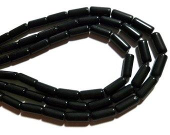 Black Obsidian - Column, Tube or Cylinder Bead - 15mm x 6mm - 24 Beads - Full Strand - shiny black bead