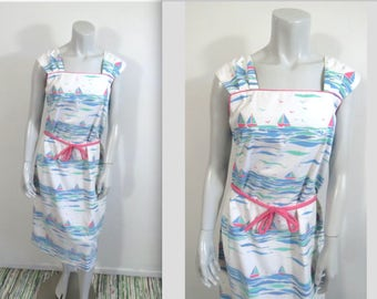 Vintage 70s The Vested Gentress Whimsical Sailboat Print Dress L
