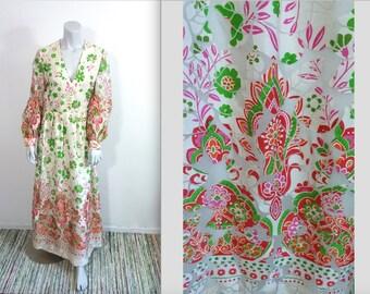 Vintage 70s Saks Fifth Avenue Burnout Paisley Garden Goddess Maxi Dress