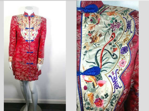 Gorgeous & Unusual 1940s Embroidered Silk Chinese