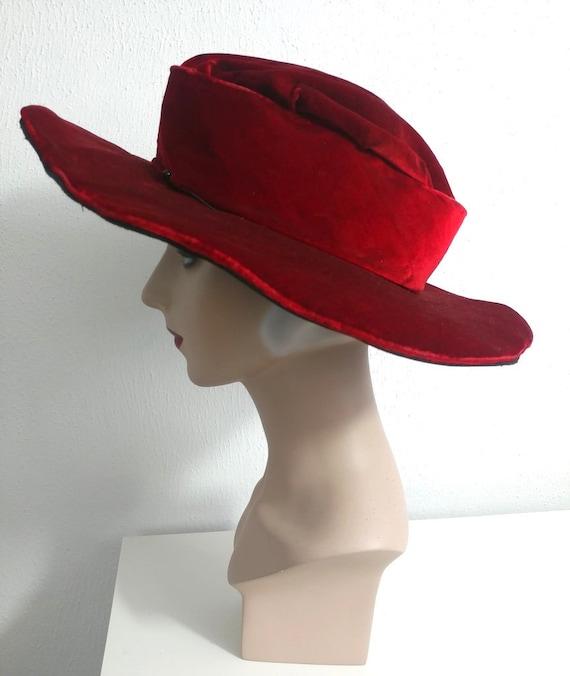 Edwardian Ruby Red Velvet Wide Brim Hat