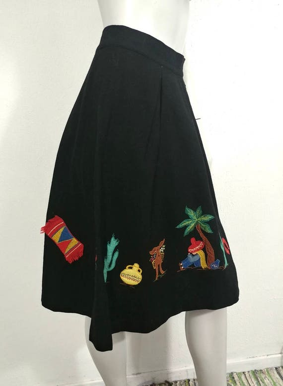 Whimsical & Rare Vintage 1930s Mexican Applique W… - image 3