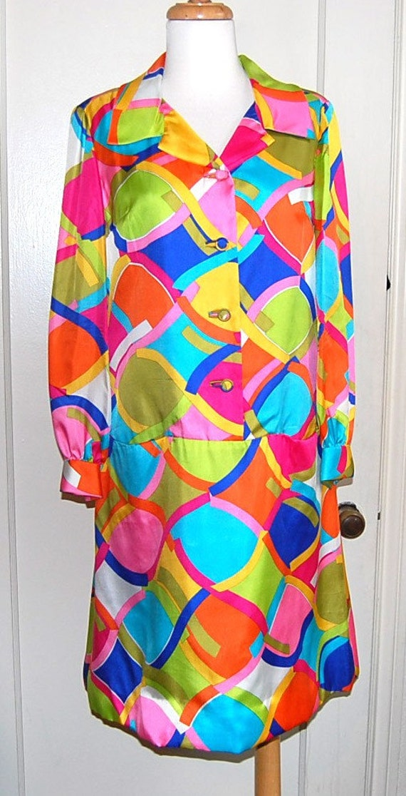 SALE-BH Wragge Colorful MOD 1970 Psychedelic Silk