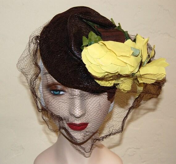 Vintage Late 30s Brown & Chartreuse Tilt Hat Doll