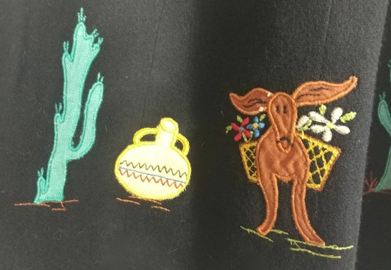 Whimsical & Rare Vintage 1930s Mexican Applique W… - image 6