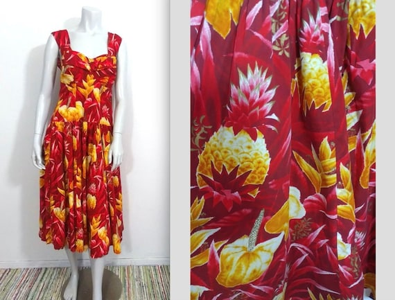 Rare Volup 40s 50s Pineapple Print Hawaiian Sundre