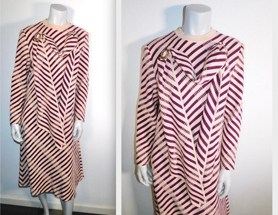 Vintage Groovy Mod 70s Italian Pink & Red Striped