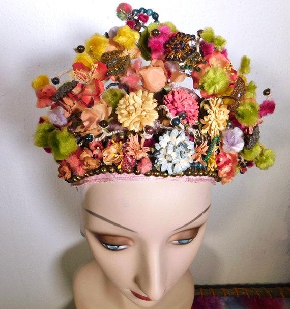 Fantastical Vintage One of a Kind Headdress Beaded