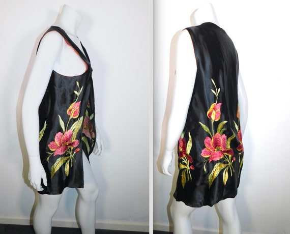 Vintage 1920s 30s Flower Embroidered Flapper Vest