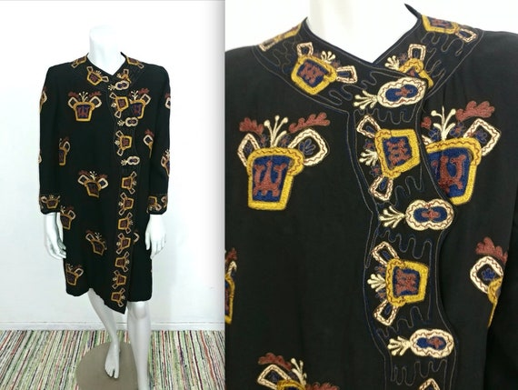 Fantastic Vintage 20s 30s Heraldic Embroidered Fla