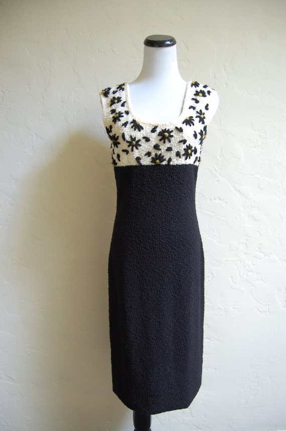 Vintage 60s Goldworm Sweater Dress w Embroidered D