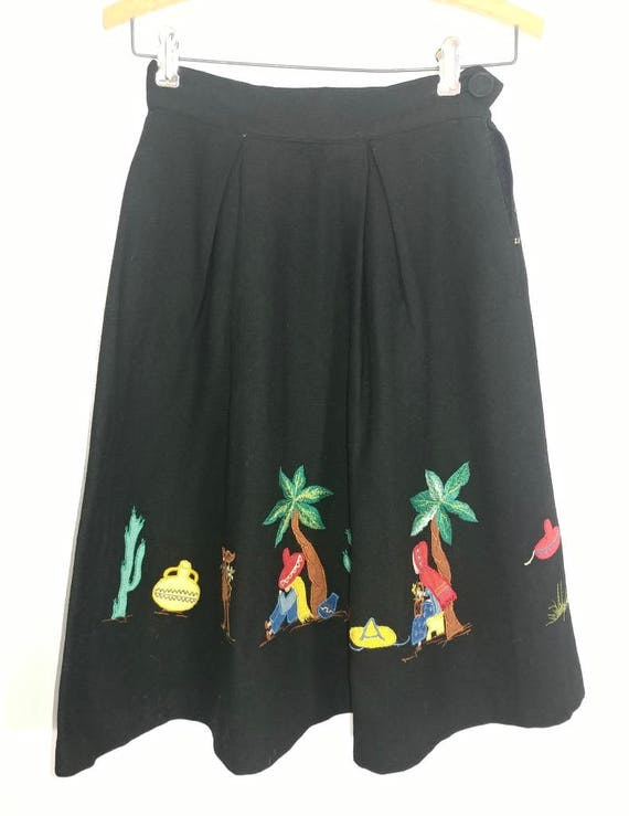 Whimsical & Rare Vintage 1930s Mexican Applique W… - image 9