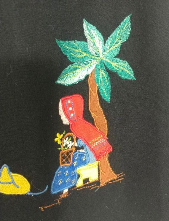 Whimsical & Rare Vintage 1930s Mexican Applique W… - image 8