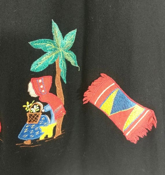 Whimsical & Rare Vintage 1930s Mexican Applique W… - image 5