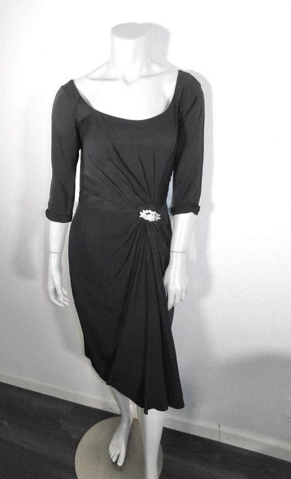 Gorgeous 1950s Ceil Chapman Draped Silk Crepe Lit… - image 2