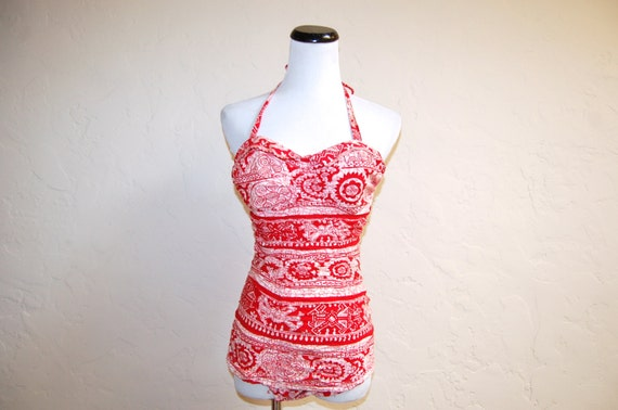 Vintage 40s 50s Pinup Girl Paradise Hawaii Ruched