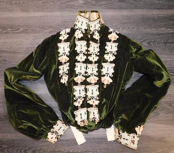 Amazing Circa 1890s Victorian Green Velveteen Bodi