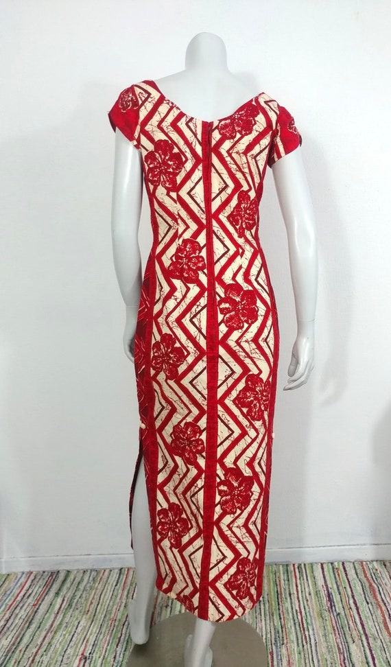 Fab Vintage 40s 50s Cotton Hawaiian Print Tea Tim… - image 3