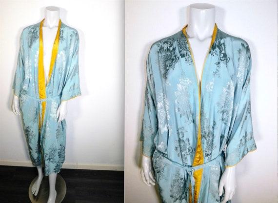 Vintage 30s 40s Deco Pastel Blue & Yellow Kimono R