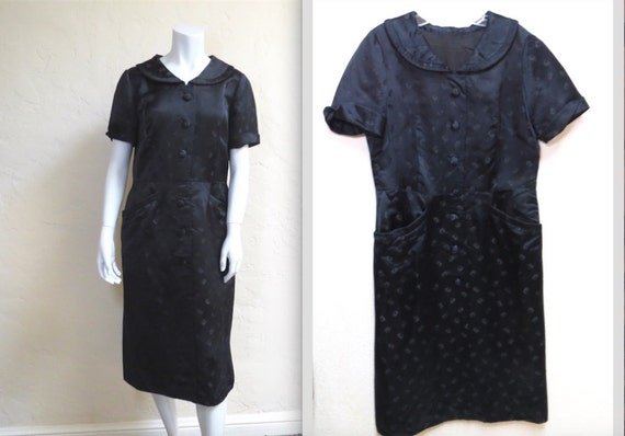Lovely Vintage Late 40s Silk Brocade Collared Dres