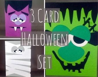 Happy Halloween Card Set Monster Card Frankenstein Mummy Dracula Vampire Handmade Halloween Cards Cute Halloween Card for Kids
