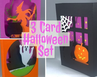 Happy Halloween Card Set Handmade Halloween Cards Cute Halloween Card for Kids Funny Halloween Card Blank Halloween Card Witches Card