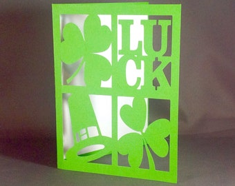 Traditional St Patrick's Day Pop Up Card ~ 3D Shamrock Luck Greeting ~ Luck of the Irish Greeting Card ~ St Paddy's Icons Card ~ Kirigami