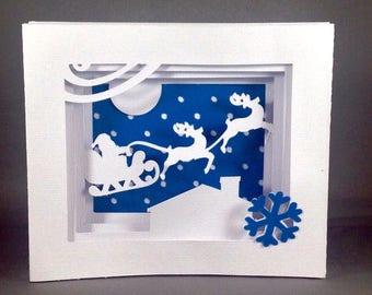 Santas Sleigh Funny Holiday Cards | Santa Clause Cards | Cards with Santa Sleigh | Christmas Card Cute Christmas Cards | Snowflake Card