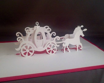 Cinderella Carriage Card w Pop Up Cards Wedding Carriage, Horse and Carriage Invitations, Princess Carriage, Princess Card Princess Birthday